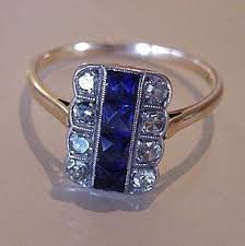 18ct gold u0026 platinum sapphire u0026 diamond art deco ring item 1010684