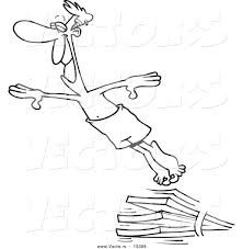 vector of a cartoon man diving outlined coloring page by