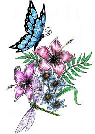 flower drawings and designs dragonfly buterfly flower design by