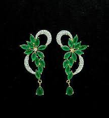 earrings uk contemporary gold plated cubic zirconia green white handcrafted