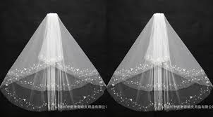 white ivory bridal veil wedding accessories sewing beads chiffon