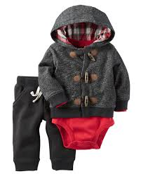 3 piece little jacket set bodysuit hoods and plaid