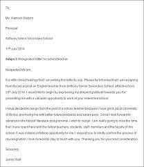 letter of resignation resignation letter for teacher cover title