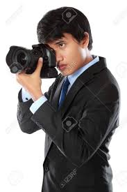 Professional Photographer Portrait Of Professional Photographer Ready To Take Photo Using