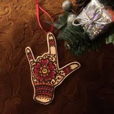sign language i you henna on wood ornament sign language