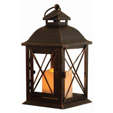 smart design aversa 10 in antique brown led lantern with timer