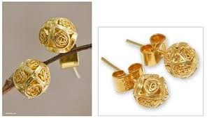 gold stud earings handcrafted gold plated filigree stud earrings morning light