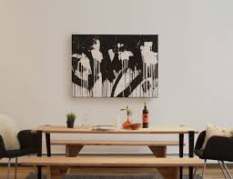 Decor Abstrak Canvas Art In Black And White Also Wooden Dining