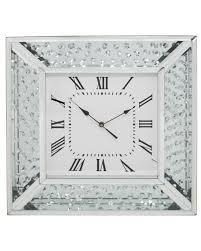 Large Silver Mantel Clock Astoria Mirror Floating Crystal Wall Clock Dream House