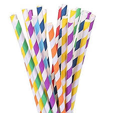 Birthday Favor by 105 Paper Straws Multicolor Rainbow For Wedding