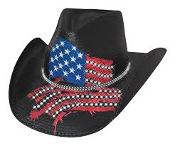 Us Flag For Sale Bullhide Hats Independence Day Shantung Panama Straw Western