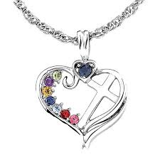cross heart necklace images Personalized mom birthstone cross within heart pendant necklace