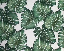 Hawaiian Curtain Fabric Ohana Cream Tropical Hawaiian Monstera Leaves On A Cotton