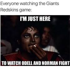 Funny Washington Redskins Memes - everyone watching the giants redskins game im just here to watch