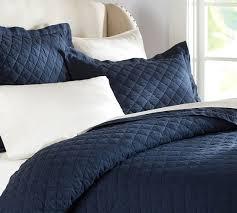 Porcelain Blue Duvet Cover Belgian Linen Diamond Quilt U0026 Sham Midnight Blue Pottery Barn