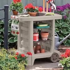 Outdoor Potters Bench Outdoor Gardening Center Portable Potting Bench Wheels Tool