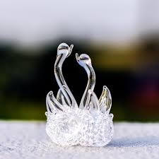 small glass swan lover ornament for home decor chacopin