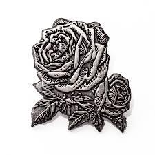 silver roses antique silver enamel pin vintage flower lapel pin