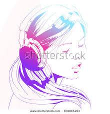 beautiful woman headphones sketch vector illustration stock vector
