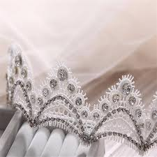 bride crystal lace crown headpiece gothic wedding bridal hair