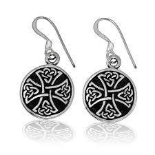 sterling silver celtic knot knights templar iron cross earrings set