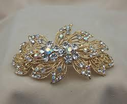 barrette hair clip rhinestone bridal gold hair clip barrette wedding hair clip