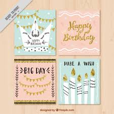 set of vintage birthday cards with golden details vector free