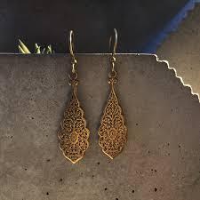 vintage earrings vintage ornate antique brass earrings ethnic earrings tribal