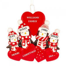 penguin family of 4 personalized ornament