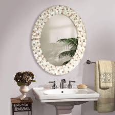 decorative bathroom mirror with oval mirror and tile decoration