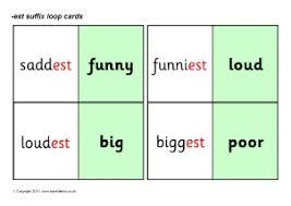 word list words for adding est suffix sparklebox