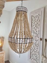 wood bead ceiling light boho wooden bead chandelier pendant light shade hanging l