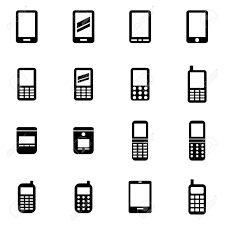 vector black mobile phone icon set on white background royalty