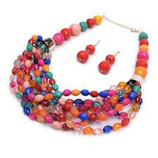 chunky necklace set images Wholesale big bright multi color beaded chunky statement earrings jpg