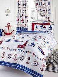 kids bedroom with nautical bedding sets and white walls using