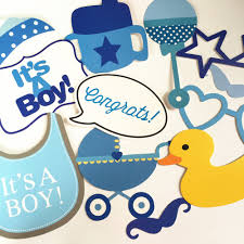 baby shower kits boy baby shower blue decoration diy kits 30 pcs photo booth props