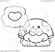 cartoon clipart of an outlined tortoise turtle in love black and