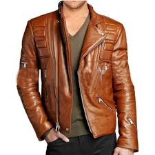 mens leather moto jacket brown designer mens attractive leather moto jacket distressed