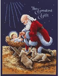 santa and baby jesus janlynn kneeling santa cross stitch kit 015 0242 123stitch