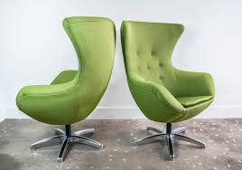 1970s pair of green egg chairs in the style of arne jacobsen