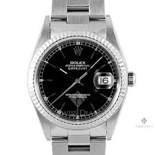 rolex oyster bracelet stainless steel images Mens rolex datejust stainless steel black diamond dial fluted jpg