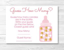baby shower guessing pink gold glitter guess how many baby shower pink and gold