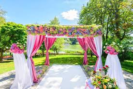wedding arch garden beautiful wedding arch with flowers in garden stock photo image