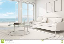 sketch design of sea view interior in modern beach house stock