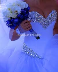 big ball gown shiny crystals ivory wedding dresses tiered tulle