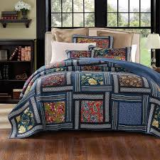 Blue Quilted Coverlet Dada Bedding Bohemian Midnight Ocean Blue Sea Reversible Floral