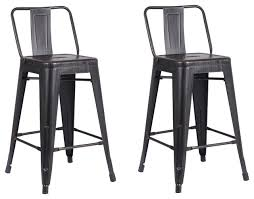 White Metal Bar Stools Distressed Metal Barstool With Back Set Of 2 Industrial Bar