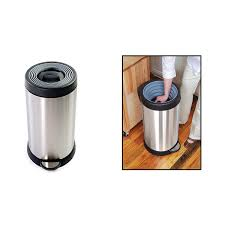 smush can compacting trash can stainless steel garbage bin