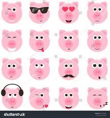 stock vector pig smiley faces set 435763867 jpg 1 500 1 600