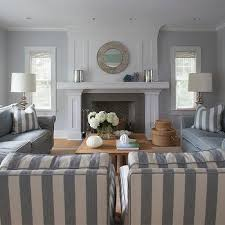 gray and blue living room with white plank coffee table cottage